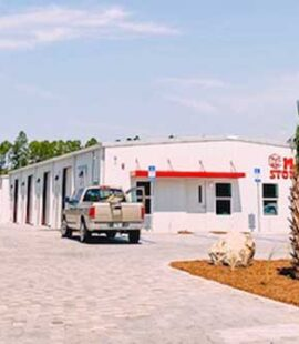 Driving into our new storage facility in Panama City Beach.
