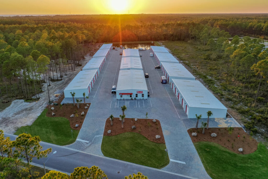 Aerial view self storage units in Panama City Beach, FL