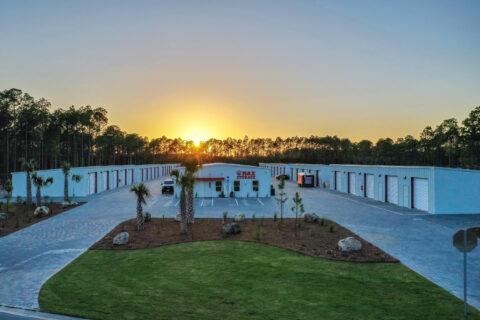 Storage units in Panama City Beach, FL, at sunset
